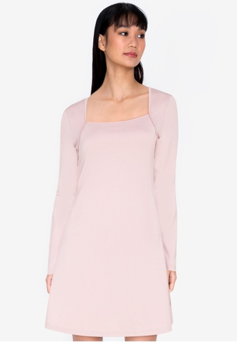 ZALORA BASICS beige Square Neck Mini Dress 2570EAA9C0AB46GS_1
