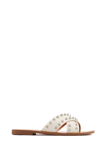 PAZZION beige Studded Leather Sandals EAB51SH54F6CE6GS_1
