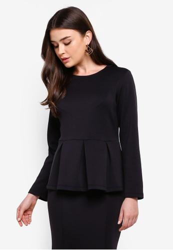 ZALIA BASICS 黑色 Long Sleeves Peplum Top 3D0BFAA420C469GS_1
