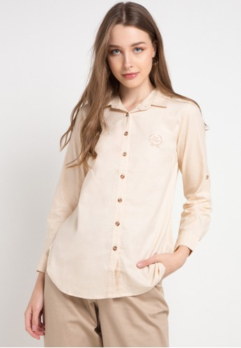 novel.mice beige Collared Cotton Blouse C31F1AA0309670GS_1