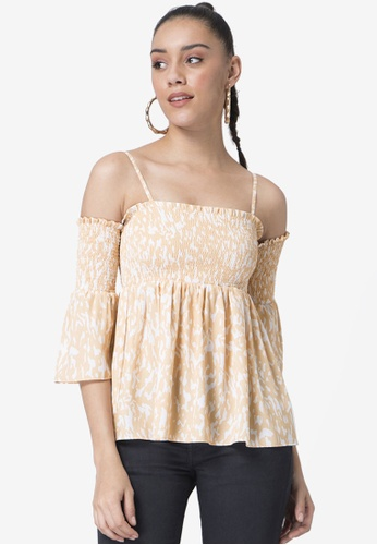 FabAlley beige Smocked Strappy Top 48429AA838E2D4GS_1