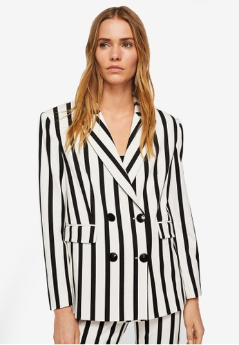 Mango white Striped Suit Blazer 4A710AA4449247GS_1