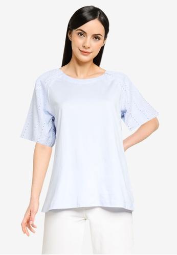 Banana Republic blue Puffed Sleeves Embroidery Blouse 1E44EAACBCB6C4GS_1