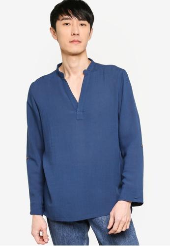 ZALORA BASICS navy V Neck Linen Blend Shirt B620FAA77BD2EDGS_1