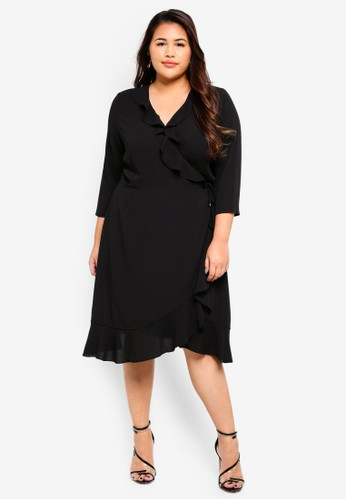 Only CARMAKOMA black Plus Size Wrap Short Dress AD00BAA553A6F9GS_1