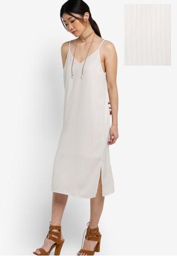 ZALORA white Collection Stripe Cami Midi Dress FC31FAA2163186GS_1