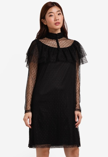 ZALORA black Studio Frilled Shift Dress A4DECZZ7F7DF3EGS_1