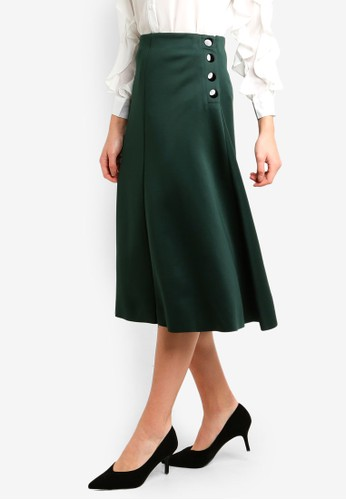 bYSI green Side Button Flared Skirt 342DCAA5CD08A6GS_1