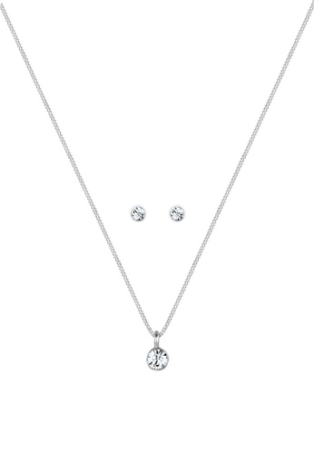 ELLI GERMANY silver Jewelry Set Solitaire Kette Crystal E26DAACCD97E71GS_1