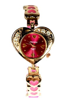 Trendy Heart Shape Ladies Watch with Stainless and Silicon Strap