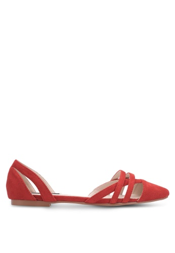 ZALORA orange Cut-out Pointed Toe Flats 3B39ESH67EFA6CGS_1