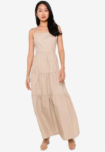 ZALORA BASICS beige Square Neck Cami Tiered Dress 96B7AAA6228854GS_1