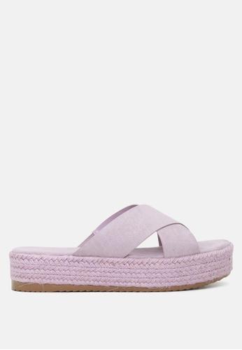 London Rag 紫色 交叉带厚底松高托鞋 3BA45SHDC57436GS_1