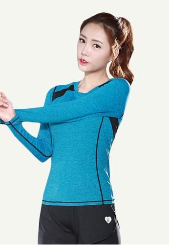 B-Code blue ZYG5118-Lady Quick Drying Running Fitness Yoga Sports Long Sleeve Top-Blue 0E72BAAAC3AFDEGS_1