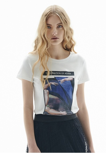 iROO white Printed T-Shirt C3EB7AA80935E5GS_1