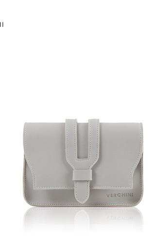 Verchini grey Verchini Small Sling Bag PU Leather 60474ACD3EB7D6GS_1