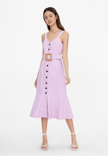 Pomelo purple Linen Woven Buckle Dress - Purple 79020AA04A917CGS_1