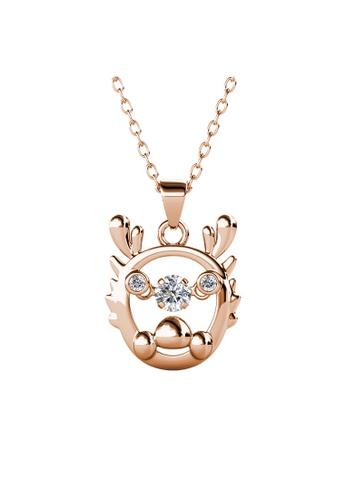 Her Jewellery gold 12 Dancing Zodiac Pendant (Dragon) RG - Made with premium grade crystals from Austria 51B13AC55E5E15GS_1