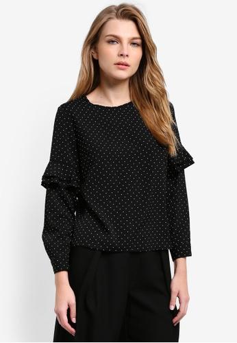 Dorothy Perkins black Petite Spot Ruffle Sleeve Top DO816AA0RV37MY_1