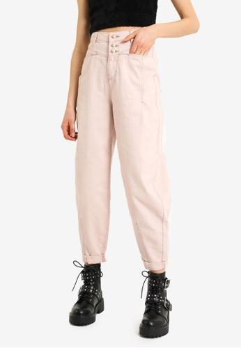 PIMKIE pink High Waist Button Slouchy Jeans 60CF1AAFBEFA5EGS_1