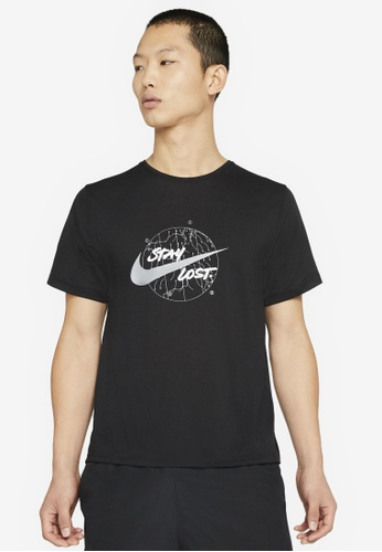 Nike black Men's Df Miler Ss Wr Gx Top 21E0FAAB257B6AGS_1