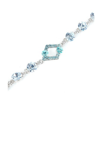 Glamorousky blue Fancy Rhombus Bracelet with Blue Austrian Element Crystals and CZ Beads 5BB15ACD402AA1GS_1
