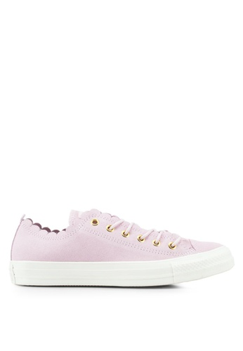 Converse pink Chuck Taylor All Star Frilly Thrills Ox Sneakers 9609ASH44E7E22GS_1
