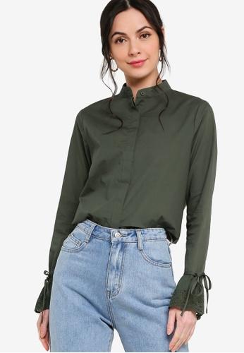 Zalia green Eyelet Lace Flounce Sleeve Shirt 4033CAA3D6867FGS_1