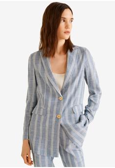 3d4f6d0348dc Mango blue Striped Blazer 7E6EBAAA2852D4GS 1