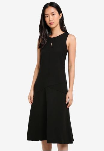 CLOSET black Panel Midi Dress CL919AA0S6H8MY_1