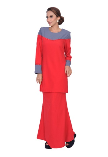Gulatis Baju Kurung Shanaz from AALIA in Red