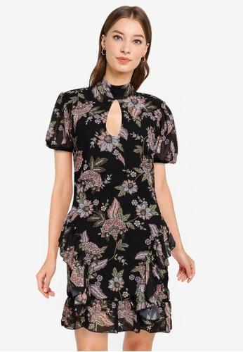 Goddiva black Short Sleeve Printed Mini Dress B7859AA5133530GS_1