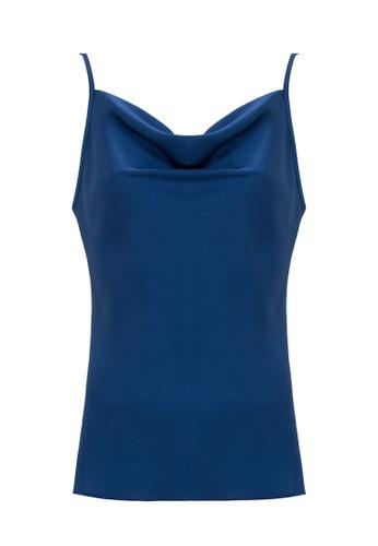 Jimmy Sanders 藍色 Jimmy Sanders Women's Asymmetric cowl neck Blouse AC1ABAA74A0BA2GS_1