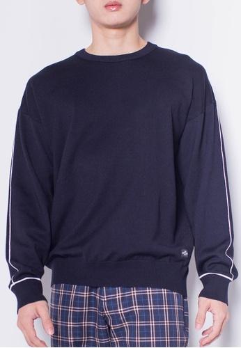 SUB navy Men Round Neck Long Sleeve Knitwear 90700AA9BB11BDGS_1