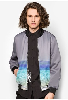 Ombre Seaside Printed Bomber Jacket