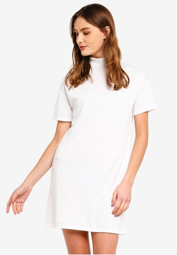ZALORA BASICS white Basic Polo Neck T-Shirt Dress 8FF2FAA3E36D88GS_1