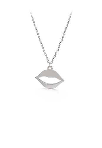 Glamorousky silver Fashion Creative Lips 316L Stainless Steel Pendant with Necklace 9BA69AC6C46640GS_1