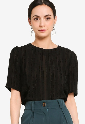 ZALORA WORK black Textured Fabric Top 31EA3AA53CD096GS_1