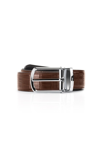 Maverick & Co. brown Maverick & Co. Sirius Croc-Embossed Leather Belt(Cocoa Brown) 99DE6ACE52CA4AGS_1