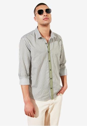 Trendyol green Slim Fit Striped Shirt 36366AA2A5D1ACGS_1