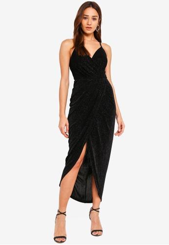 Forever New black Gail Glitter Jersey Dress 6CE7CAA8FAACBEGS_1