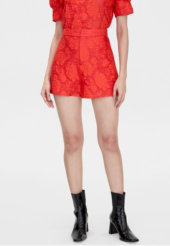 Pomelo red Flower Print Shorts - Red A7DD4AA957487EGS_1