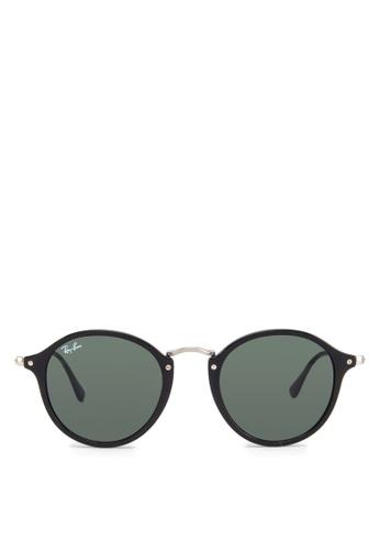 Ray-Ban black Round Fleck  RB2447 Sunglasses RA370GL77GOKSG_1