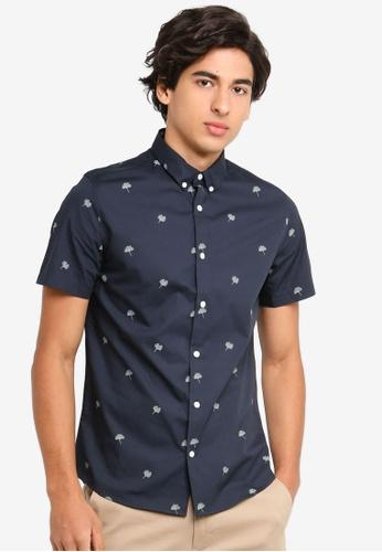 Burton Menswear London 海軍藍色 短袖印花襯衫 C120CAA26776C3GS_1