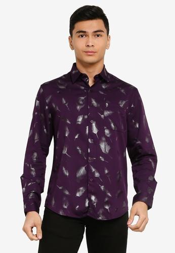 Electro Denim Lab purple Foil Printed Shirt 07FF2AAC57F754GS_1