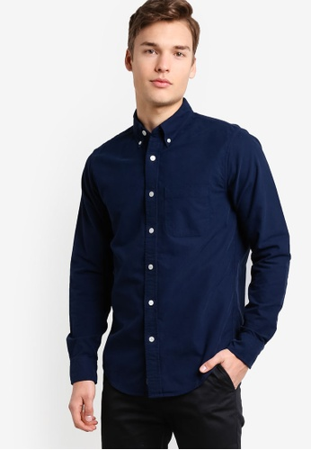 Abercrombie & Fitch navy Classic Oxford Shirt AB423AA46PIJMY_1