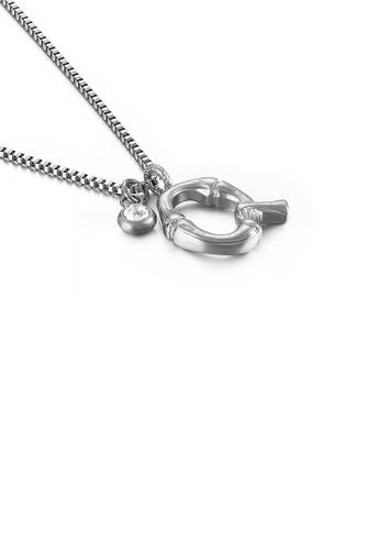 Glamorousky 白色 時尚簡約英文字母Q 316L鋼吊墜配鋯石及項鏈 A9811AC46CAB42GS_1