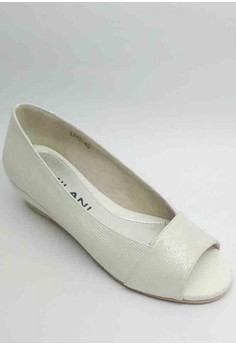 Lea Formal White Silver Shoes Peep Toe Low Wedge