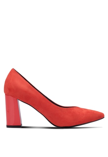 Nose red Pointed Chunky Heel Pumps NO327SH0RVMFMY_1