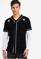 Flesh IMP black Starry Mesh Baseball Shirt FL064AA84NYHMY_1